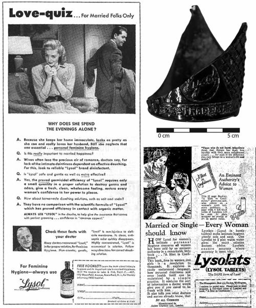 """These astoundingly sexist advertisements for Lysol claim """"in easily understood language"""", that good feminine hygiene can protect a woman's youth & vigor and save her marriage. Clockwise"""