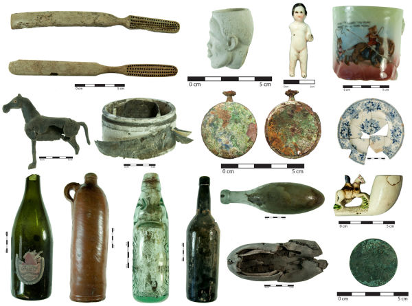 A selection of the various artefacts found in Christchurch over the last three years. Top row from left: