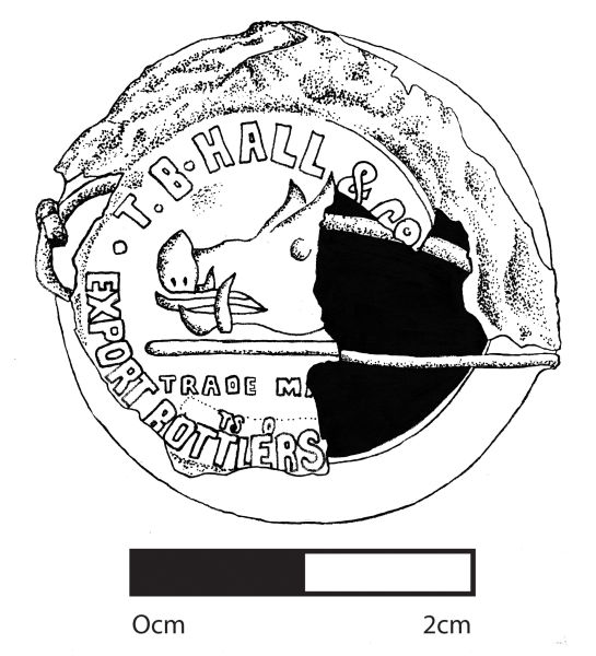 This drawing of one of the T. B. Hall & Co metal capsules shows the distinctive boar trademark used by the company. Image: J. Garland.