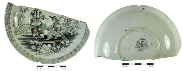 This lovely little saucer is decorated with a Chinese motif, known as 'Chang'. It appears to show one man cooking, while another stands around smoking a pipe. Not such an unfamiliar scene, is it? Image: J. Garland.