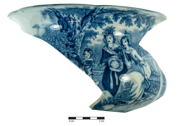 Part of a chamberpot decorated with the May Morn pattern. Image: J. Garland.