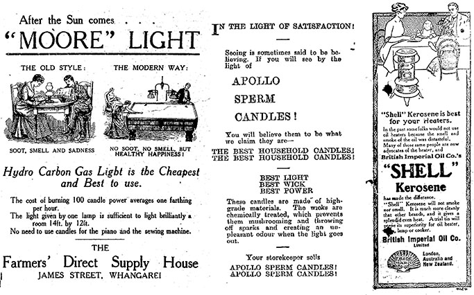 Advertisements for household lighting and heat