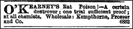 Advertisement for O'Kearney's rat poison. Image: