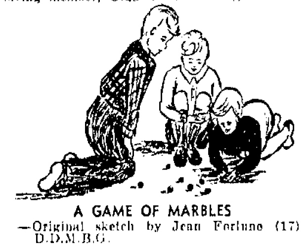 A sketch of boys playing a game of marbles. Image: