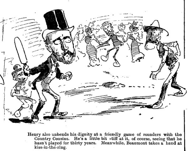 An 1897 cartoon of grown men playing at rounders and kiss-in-the-ring. Image: