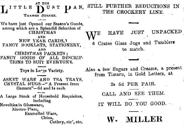 Advertisements for souvenirs from Timaru and Oamaru. Images: North Otago Times 6/1/1893: 2, Timaru Herald 13/7/1901: 1.