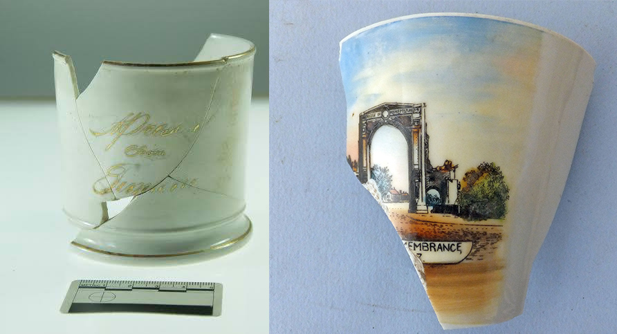 Souvenir cups found in Christchurch. Images: G. Jackson & Underground Overground Archaeology Ltd.