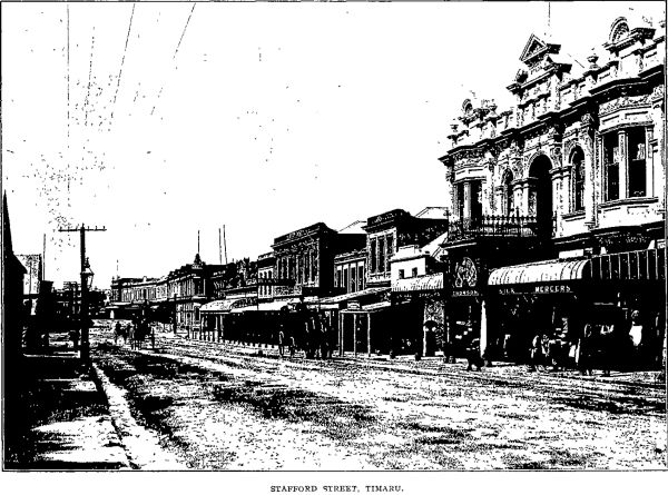 Early 20th century image of Stafford Street, Timaru. Image: Progress 1/7/1907: 338