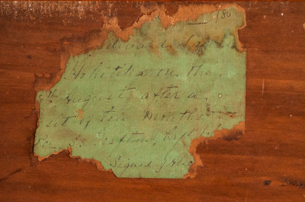 This hand written note was found adhered to the tongue and groove match lining of a cottage in Lyttelton.