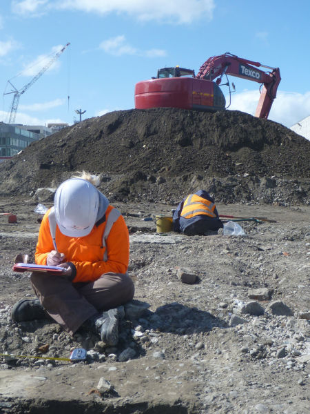 Cultural heritage management archaeology in Christchurch. Image: M. Carter.