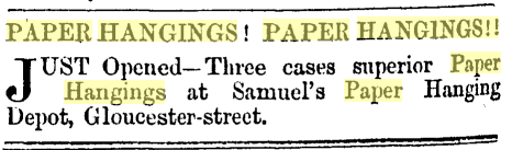 Advertisements for paper hangings. Press, 21 January 1863