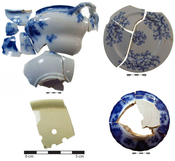 Ceramics from Violet Cottage. Clockwise from top left: a tureen, a Fibre-decorated side plate, the base of a serving dish and a colander. Image: C. Dickson.
