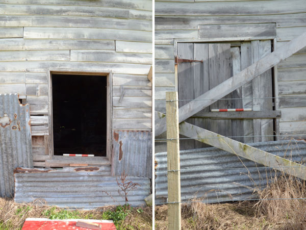Left: window into Room 1, east elevation. Right: door into Room 7, east elevation. Cut marks in the weatherboards indicated that this door and window had effectively switched plans: the window in Room 1 was originally a door and the door into Room 7 was a window.