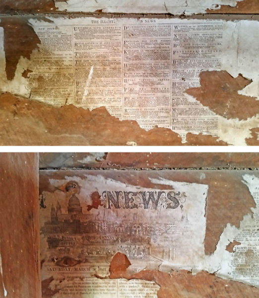 Top: 1860 newspaper. Bottom: 1861 newspaper. These are on the wall between Rooms 1 and 2, next to the fireplace. Image: K. Watson & K. Webb.