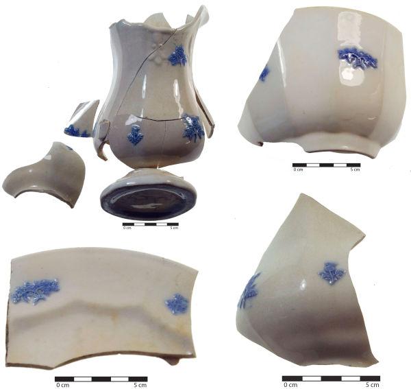 Fragments of sprigged porcelain recovered from Violet Cottage. Image: C. Dickson.