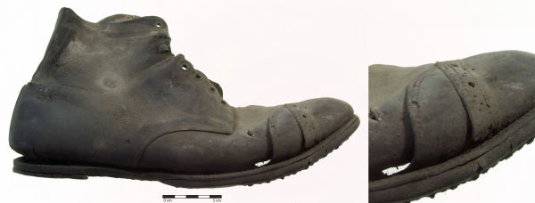Blucher boot with repair patch on toe (the pair to this boot did not have a patch). Image: C. Dickson.