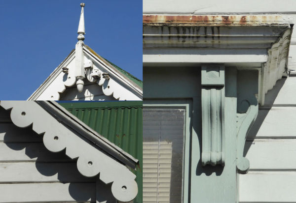 Decorative features on the street-facing facade: finial (top left), bay window (right) and bargeboard (lower left). Image: L. Tremlett.