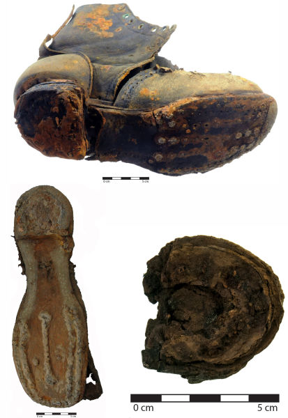 Figure 2. Footwear with hob nailing, and heel with rand (bottom right). Image: C. Dickson; Jessie Garland.