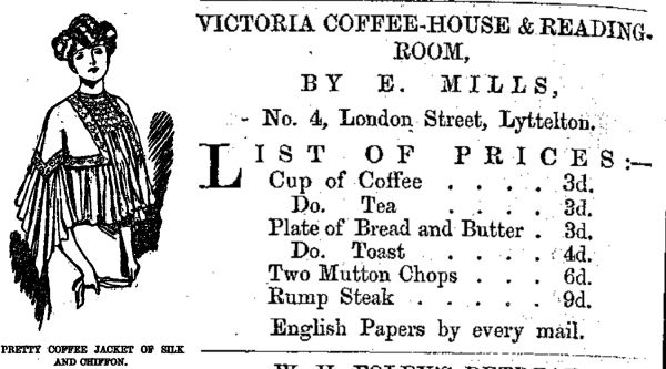 Coffee jacket and advertisement for the Victoria Coffee House in Lyttelton. Image