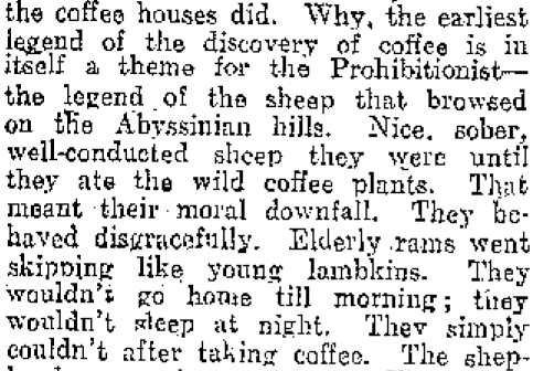 Coffee, the moral downfall of Abyssinian sheep. Image: