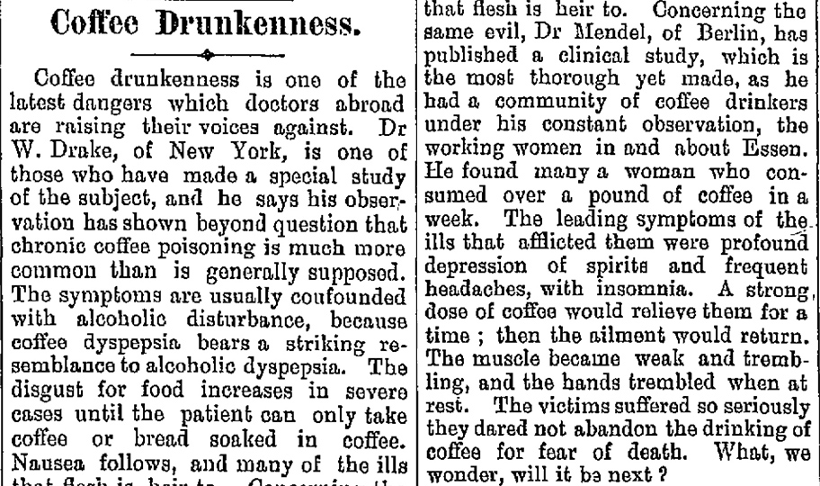 Article on 'coffee drunkenness' from 1896. Image: