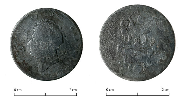 Definitely the oldest thing we've found this year, this 1825 Georgian shilling was found at an 1850s house site on Cashel Street. Image: J. Garland.