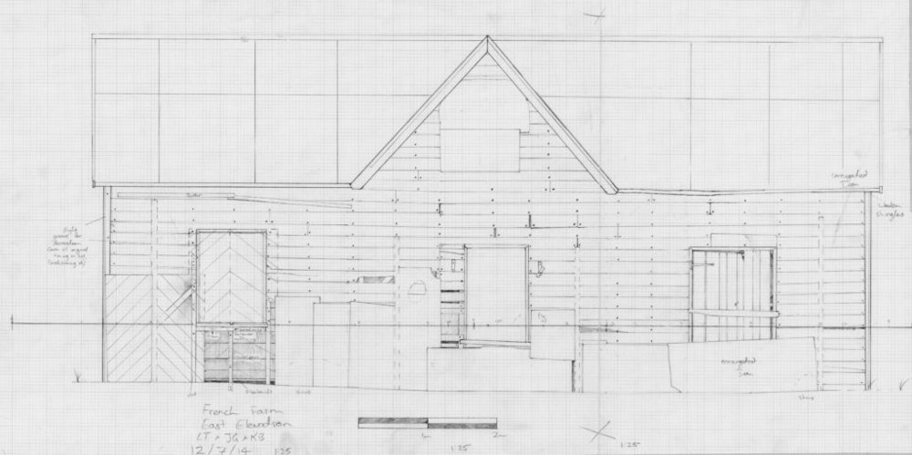 One of the elevation drawings of the French Farm building.  Image: L. Tremlett.