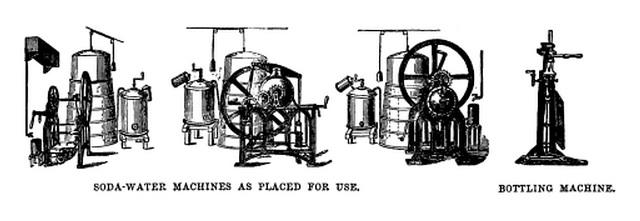 1862 drawing of the Samson Barnett Soda Water Engine.