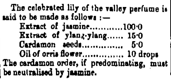 A recipe for the 'celebrated lily of the valley perfume', one of the popular scents of the 19th century. Image:
