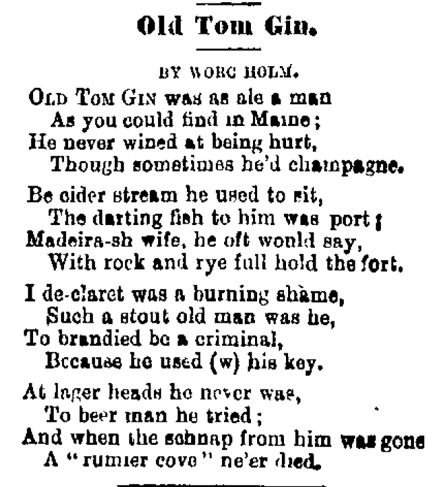 Pun-tastic poem about Old Tom Gin (and other forms of alcohol). Image:
