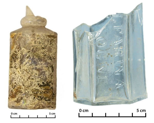 Bottle of Mulhens 4711 cologne (left) and the Farina Eau de Cologne (right) found in Christchurch. Image: J. Garland.