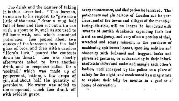 Left: an account of a man drinking a petroleum & gin cocktail. Right: a description of gin palaces and drinkers, that seems particularly harsh to the Scottish. Images: