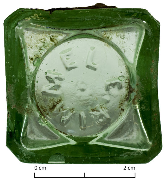 Rimmel bottle base found in Christchurch. Image: G. Jackson.