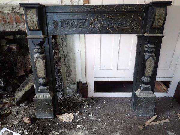 Fireplace removed from the parlour.
