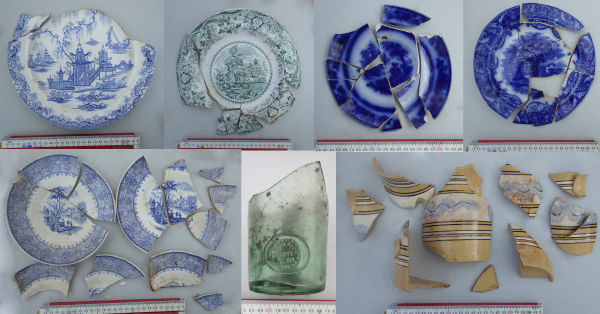 Selection of ceramic vessels and a Booth's gin bottle with a prunt or blob seal. Clockwise, left to right: