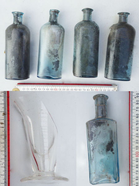 Medical and pharmaceutical artefacts found in the well. Image: J. Garland.