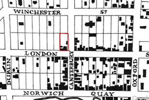 Detail of an 1860s map of Lyttelton showing structures extant along London Street at the time. Albion  Hotel section outlined in red. Image: Rice 2004: 28.