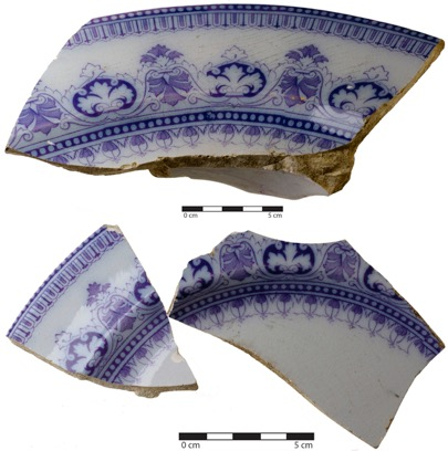 Fragments of platter and dinner plate set decorated with under-graze transfer print technique. Image C. Dickson.