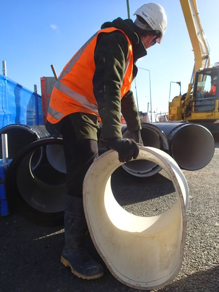 A section of this liner was cut out and used as a mould to custom make two PVC plastic transition pieces, as we were replacing the damaged section of sewer with pipe of a circular shape. Image: Hamish Williams.