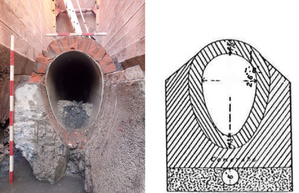 Of an oviform or 'egg' shape, the base of the sewer (that's what the invert is called in pipelaying speak) was made of unreinforced concrete. The upper crown arch was formed of specially shaped taper bricks, 13 of which were required to span the arch. In the photo on the left you can see the resin impregnated fabric liner that was installed inside the sewer circa 2009, and at right one of engineer William Clark's original 1878 oviform sewer design drawings. The sewerage system that he designed for the Christchurch Drainage Board became fully operational in early September 1882, and many parts of this system are still in use today. Images: (at left) Hamish Williams and at right, after Clark (1878) Drainage Scheme for Christchurch and the Suburbs.