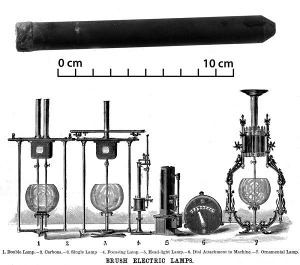 The carbon rod from an arc lamp found in Christchurch and a diagram of how arc lamps worked. If you're interested, there's more information here. Image: J. Garland