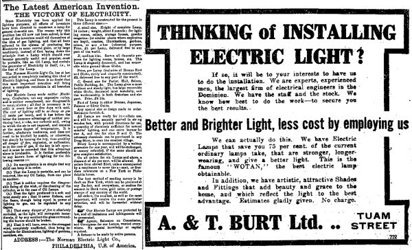 Advertisement for the Norman Electric Company Portable light (left) and a company offering installation of electric lights in the early 20th century. Image: