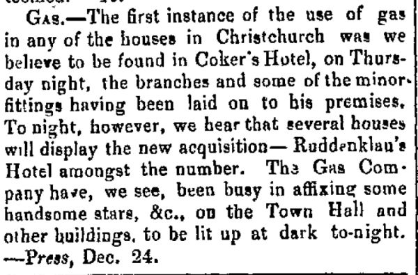 Notice of the first use of gas lighting in buildings in Christchurch, given in December 1864. Image: