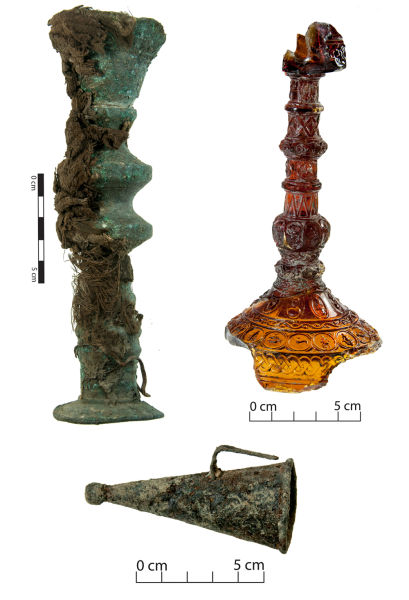 Candle sticks and a candle snuffer. Candle snuffers would often rest on the cone of chamber sticks (see picture below) for ease of access. Image: J. Garland.