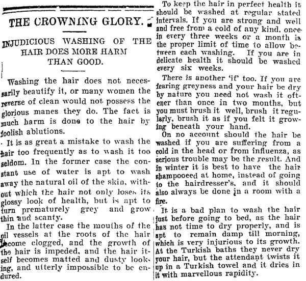 One thing that was notably different to general hair care now was the recommended frequency of washing.
