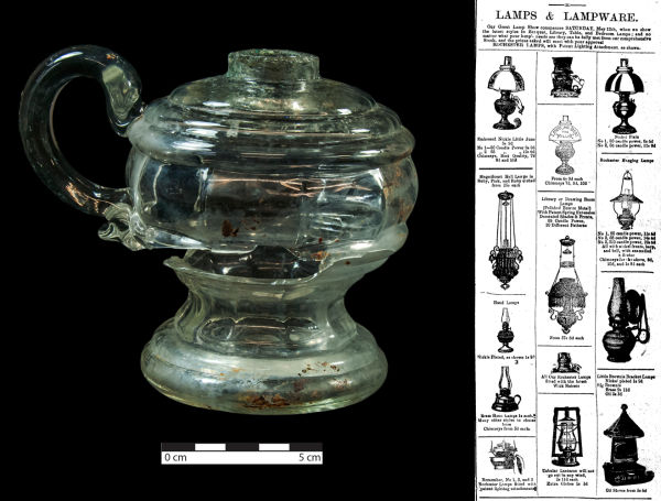 A 'finger' lamp found on a site in central Christchurch and an advertisement showing the selection of lamps available to the consumer. This is the base of a kerosene lamp that would have looked a bit like this when complete.