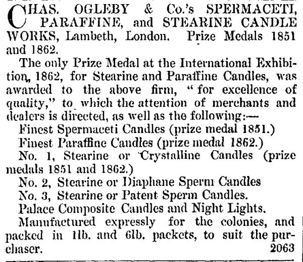 Advertisement for prize medal spermacetti and stearine candles from the