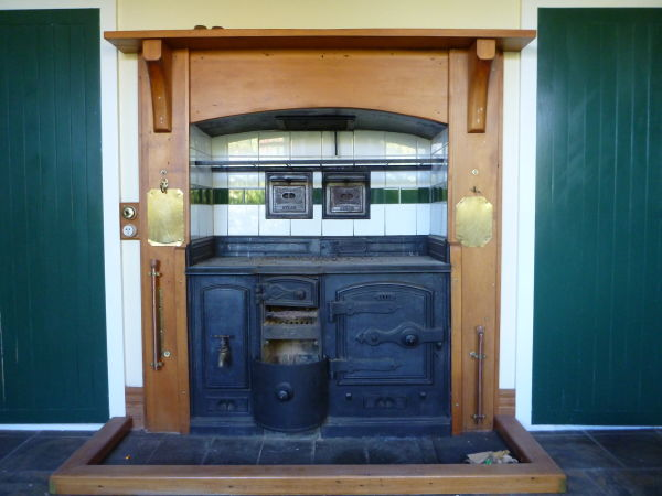 From the same house,a  slightly different form of fireplace. This coal range... Image: K. Webb.
