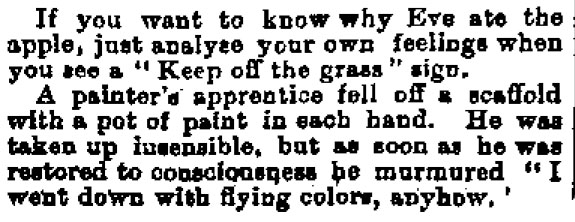 A paint joke from 1890. One of the many strange results discovered during the research process. Image: Evening Star 3/11/1890: 2.