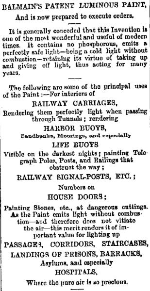 Some of the proposed uses for luminous paint in the 19th century. Image: Evening Star 17/03/1883, p. 3.